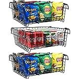 Jumiju XXL Stackable Wire Baskets, Set of 3 Pantry Storage Bins. 16x12in Metal Basket for Pantry Storage and Organization, Pa