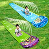 """2 Pack Lawn Water Slides Inflatable Water Slip and Slide Toys 197"""" x 29"""" with Body Board for Kids and Adults for Grass, Backy"""