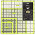 """ARTEZA Acrylic Quilters Ruler & Non Slip Rings - Double-Colored Grid Lines (4.5""""X4.5"""", 6""""X6"""", 9.5""""X9.5"""", 12.5""""X12.5"""", Set of"""