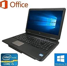 テンキー付き【Microsoft Office2010搭載】【Windows 10搭載】NEC VersaPro VK25 /第三世代Core i5 2.50GHz/メモリ 15.6インチ 大画面/無線LAN/DVD/中古ノートパソコン (HDD250GB メモリ4GB)