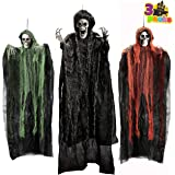 "Halloween Hanging Grim Reapers (3 Pack), One 53"" and Two 31.5"" Halloween Grim Reapers, Halloween Skeleton Flying Ghost for Ha"