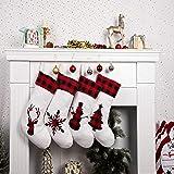 MOSTOP 4 Pack Christmas Stockings 18'' Xmas Stockings Big Size Silhouette Buffalo Red Plaid, Rustic-Farmhouse Fireplace Hangi