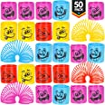 Mega Pack Of 50 Coil Springs - Assorted Emoji Silly Faces And Colors, Mini Spring Toy For Party Favor, Carnival Prize, Gift B