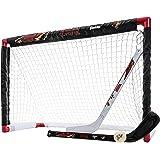 Franklin Sports NHL Mini Hockey Sets - Knee Hockey Goal, Ball, & 2 Hockey Stick Combo Set - Mini Goal Net - NHL Official Hock