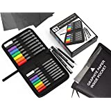Rock Painting Starter 19 Pen Set In Zipper Case. 16 Acrylic Pens(0.7mm+3mm) 2 micro fineliners, Tracing Stylus, Graphite Carb