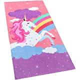 Softerry Rainbow Unicorn Velour Beach Towel for Kids 28in x 55in 100% Cotton