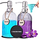 RFAQK 2 Pack Dish and Hand Soap Dispenser Set for Kitchen and Bathroom with Stainless Steel Pump, Funnel and Tags - Glass Soa