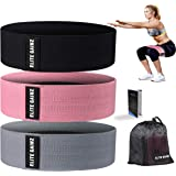Elite Gainz Resistance Booty Bands Set: 3 Non-Slip Fabric Exercise Bands for Butt, Leg & Arm Workout. Perfect Gym Home & Trav