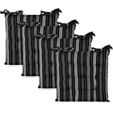 COTTON CRAFT - 4 Pack Salsa Stripes Chairpad -Black Grey - 17x17 Inches- Dining Chair Pad Cushion with Ties- Classic Design-