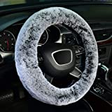 KAFEEK Frost Fluffy Microfiber Plush Steering Wheel Cover for Winter Warm, Universal 15 inch Soft Fuzzy Steering Wheel Cover,