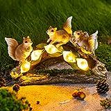 GIGALUMI Garden Squirrel Figurines Outdoor Decor, Garden Art Outdoor for Fall Winter Garden Decor, Outdoor Solar Statue with