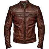 Mens Biker Vintage Antique Brown Cafe Racer Real Leather Jacket