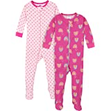 Gerber Baby Girls' 2-Pack Footed Pajamas