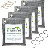 Green Mind Bamboo Charcoal Air Purifying Bags 4-Pack - Activated Deodorizer Odor-Absorber Smell Eliminator Naturally Freshen