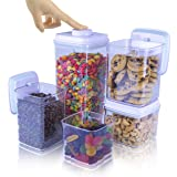 iChewie - BopTop (5pc Set) Airtight Food Storage Container – Mechanical Silicone Seal Canister - BPA-Free Stackable - 2.5Qt/1