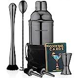 Cocktail Shaker Set Drink Mixer // 8-piece Portable Bartender Kit with 24oz Martini Shaker Bar Tool Set // 2 Pourers // Muddl