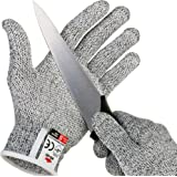 NoCry Cut Resistant Gloves with Secure-Grip Microdots and Level 5 Cut Protection. Comfort-Fit. Food Grade, Size Medium. Inclu