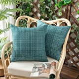 Woaboy Set of 2 Outdoor Waterproof Throw Pillow Covers Decorative Farmhouse Water Resistant Solid Cushion Cases for Patio Gar