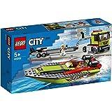 LEGO City Race Boat Transporter 60254 Race Boat Toy, Fun Building Set for Kids
