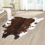 Cow Hide Animal Print Area Rug - Measures 4.1 x 4.15, Faux Cow Print Carpet, Brown and Ivory, Beautiful Decor for Your Home