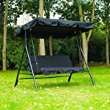3 Seater Garden Swing Replacement Canopy Cover Heavy Duty UV Block Sun Shade Waterproof for Outdoor, 195x125cm (Black)