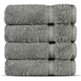 Chakir Turkish Linens Hotel & Spa Quality, Highly Absorbent 100% Cotton Turkish Washcloths (4 Pack, Gray)