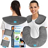 Neck and Shoulder Pain Relief Heating Wrap - Natural Moist Heat Therapeutic Pillow with Herbal Aromatherapy - Instant Relief