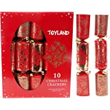 Toyland 10 Deluxe Red & Gold Christmas Crackers