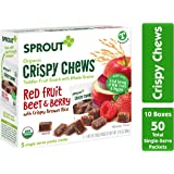 Sprout Organic Baby Food, Stage 4 Toddler Fruit Snacks, Red Fruit Beet & Berry Crispy Chews, 0.63 Oz Single Serve Packs (50 C
