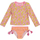 Tommy Bahama Girls' Long Sleeve 2-Piece Rashguard Swimsuit Bathing Suit