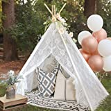 Kids Teepee Tent for Girls, Sheer Lace Indoor and Outdoor Canopy and Creative Play Space   White Room Decor   Bohemian Theme
