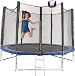 2.4m 8ft Round Trampoline FREE Basketball Set Safety Net Spring Pad Cover Ladder New Enclosure Mat Kids