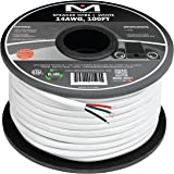 Mediabridge 14AWG 4-Conductor Speaker Wire (100 Feet White) - 99.9% Oxygen Free Copper - ETL Listed & CL2 Rated for In-Wall U