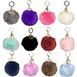 1 Dozen of Faux Fur Pom Pom Keychains (J2208)