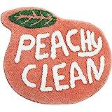 Peach Bathroom Rugs and Mat Cute Cartoon Bath Mat Kids Bathroom Decor Peachy Plush Coral Pink Non-Slip Foot Mat Absorbent Bat