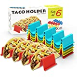 Ginkgo Taco Holder Stand Set of 6 - Taco Truck Tray Style Rack Holds Up to 4 Tacos Each, PP Health Material Very Hard and Stu