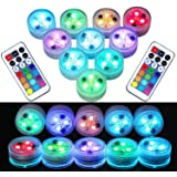 10Pcs Remote Submersible LED Lights Waterproof Tea Lights Underwater Lights Battery Powered Flameless LED Accent Light for Pa