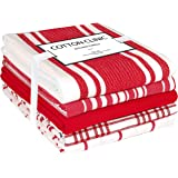 Cotton Clinic 16x28 Set of 5 Ring Spun Cotton Kitchen Dish Tea Bar and Cleaning Towels with Hanging Loop, Red White