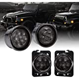 Smoked Lens Amber LED 4pc Kit [Turn Signal Light w/DRL] + [Side Marker Light] for 2007-2018 Jeep Wrangler JK & Unlimited