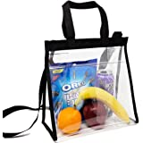Youngever Deluxe Clear Lunch Bag, Stadium Approved Clear Bag, Adjustable Cross-Body Strap Clear Plastic Bag