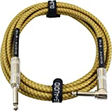 GLS Audio 10 Foot Guitar Instrument Cable - Right Angle 1/4 Inch TS to Straight 1/4 Inch TS 10 FT Brown Yellow Tweed Cloth Ja