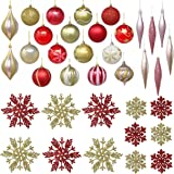 """JOYIN 36 Pack of Christmas Ornaments Set for Christmas Tree Decoration, 18 Piece Christmas Ornaments 3.15""""(80mm), 6 Icicle Or"""