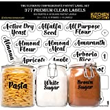 KITCHEN ALMIGHTY Pantry Labels: 377 Bold Cursive Gloss Clear Preprinted Water Resistant Complete Label Set to Organize Storag