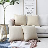 """HOME BRILLIANT Decoration Supersoft Linen Cushion Covers Square Throw Pillows Cover for Couch 18""""X18"""", Set of 4 L-Light Linen"""