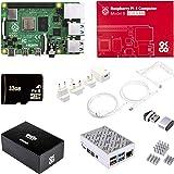 Raspberry Pi 4 4GB Model B Starter Kit with case Fan heatsink sd Card hdmi Lead and PSU