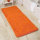 Lavish Home 2 Piece Memory Foam Shag Bath Mat Set - Burgundy Orange
