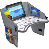 Kids Travel Tray by BonaBee Baby│Lap Organizer for Car Seat with Cup/iPad/Tablet Holder│Sturdy Play Table w/ABC Design Enable