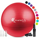 (45 cm, Red) - SmarterLife Products Exercise Ball for Yoga, Pilates, Therapy, Balance, Stability, Posture Support, Desk Chair