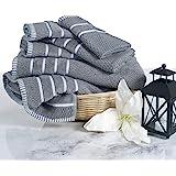 Lavish Home 6 Piece Egyptian Cotton Rice Weave Towel Set Silver