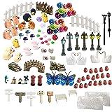 INHEMI 111 Pieces Fairy Garden Accessories Miniature Ornaments Kit for DIY Fairy Garden Dollhouse Decoration